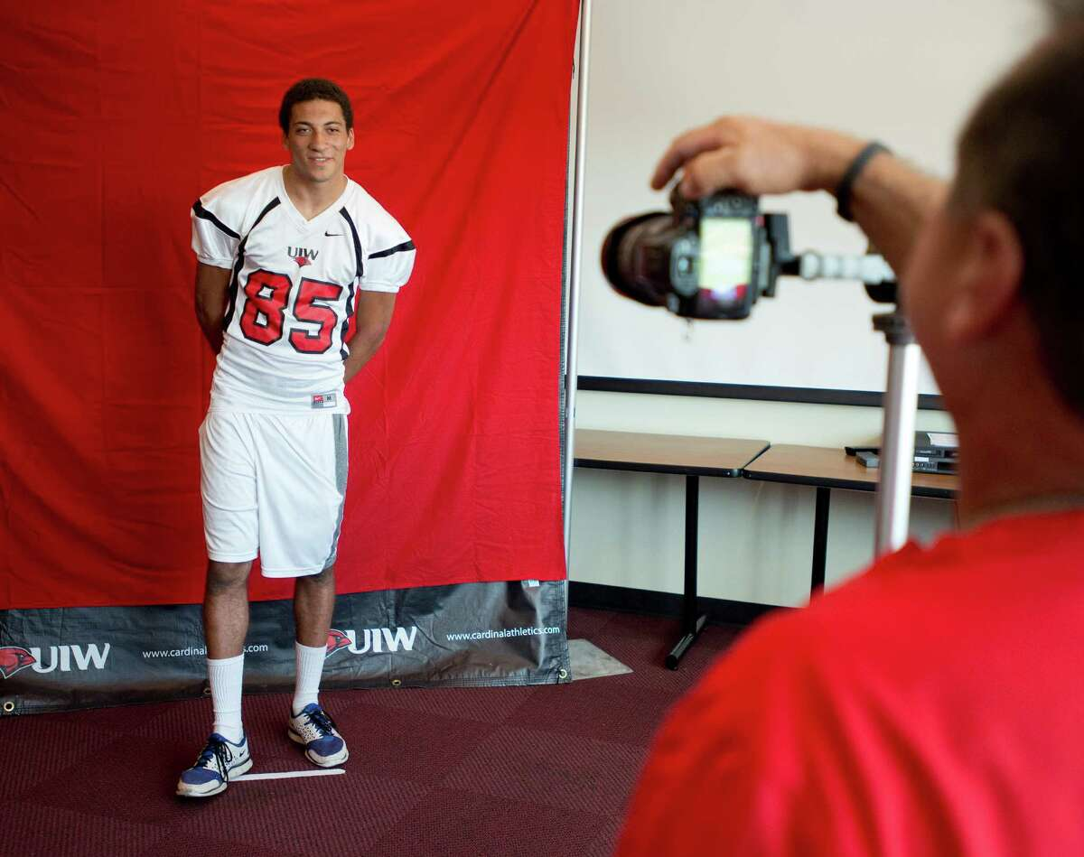 UIW wide receiver Brandon Yates poses for his team picture during UIW Football picture day, Sunday, August 11, 2013, at UIW Benson Stadium in San Antonio.