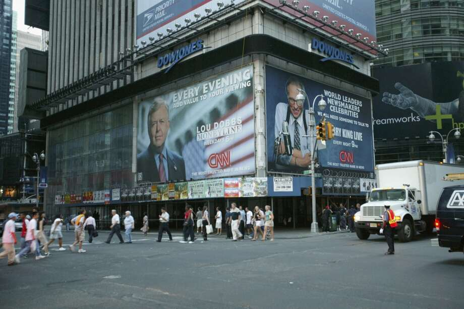News tickers in Times Square are blank during a massive blackout August 14, 2003 in New York City. Officials from the Department of Homeland Security said there were no indications that terrorists were responsible for the blackout that has also affected Ohio, and Canada. Photo: Matthew Peyton, Getty Images