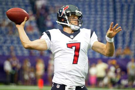 Houston Texans quarterback Case Keenum throws a warm-up pass before an NFL pre-season football game against the Minnesota Vikings at Mall of America Field Friday, Aug. 9, 2013, in Minneapolis.