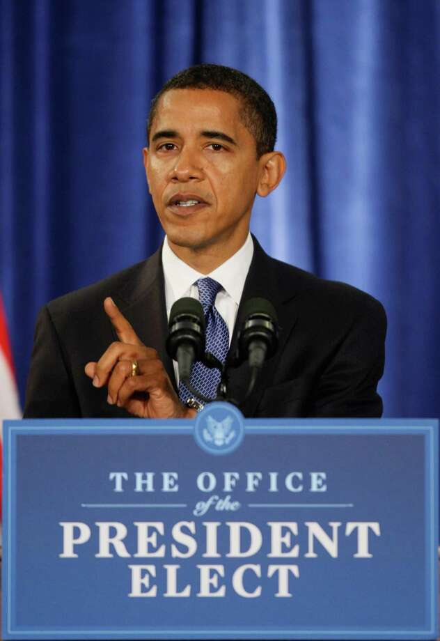 President-elect Barack Obama gestures during a news conference in Chicago, Tuesday, Nov. 25, 2008. Photo: Charles Dharapak, Associated Press / AP
