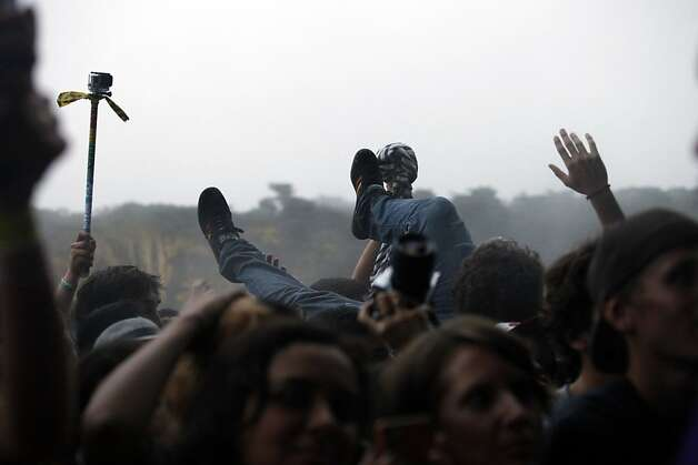 Crowd surfing was very popular during the Red Hot Chili Peppers performance at the Outside Lands Festival in San Francisco, Calif. on Sunday, August 11, 2013. Photo: Katie Meek, The Chronicle