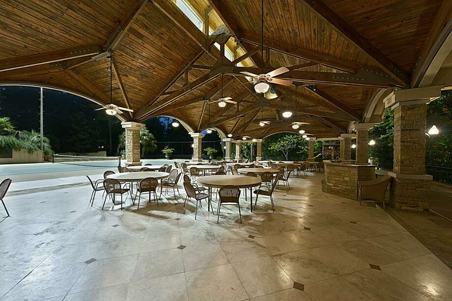 The large estate also features a tennis court with covered seating. The asking price is $14.5 million.