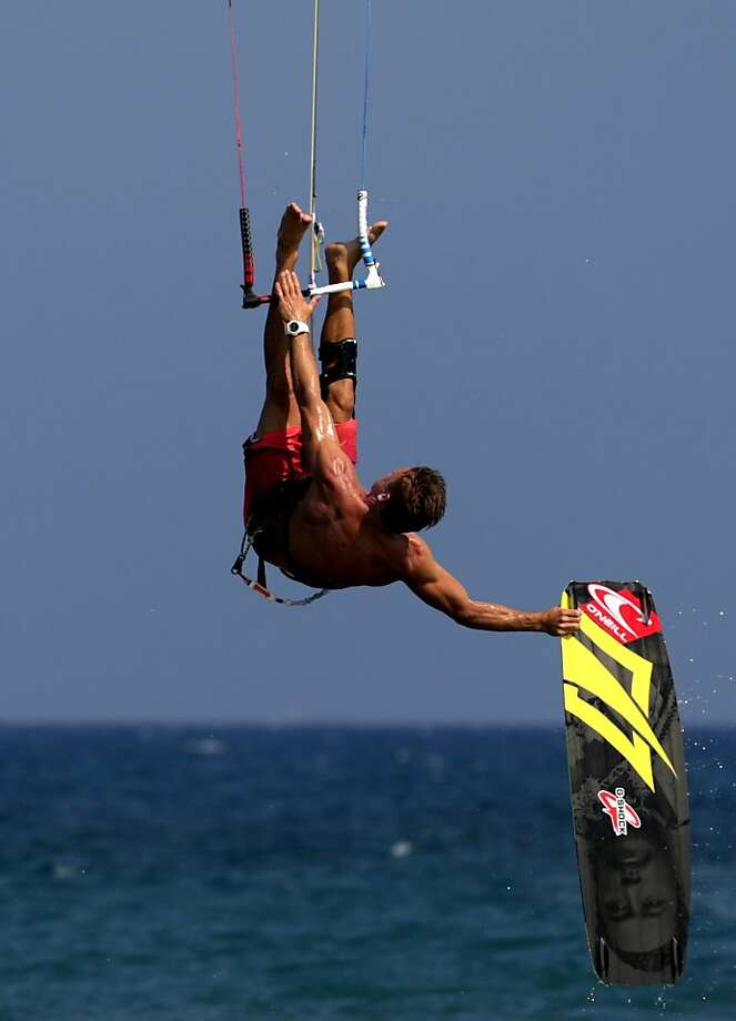 Champ shows how it's done: Kevin Langeree, world champion and guest judge to the first Cyprus Kite-surfing 