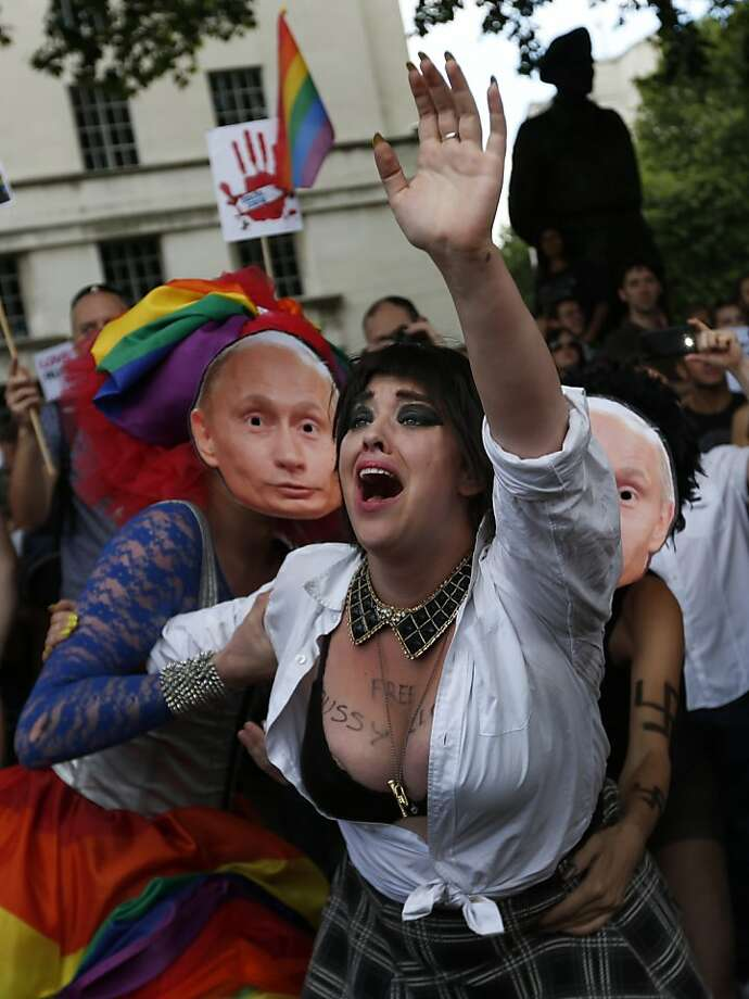 "Discrimination theater:In London,  Putin-masked ""oppressors"" 