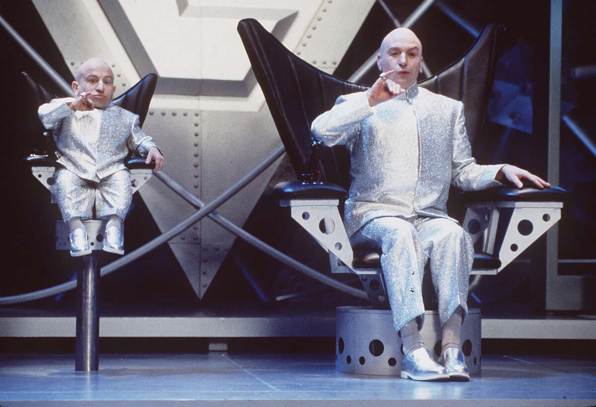 Dr. Evil and Mini-Me. Both bald. Both evil. Both really annoying to Austin Powers.