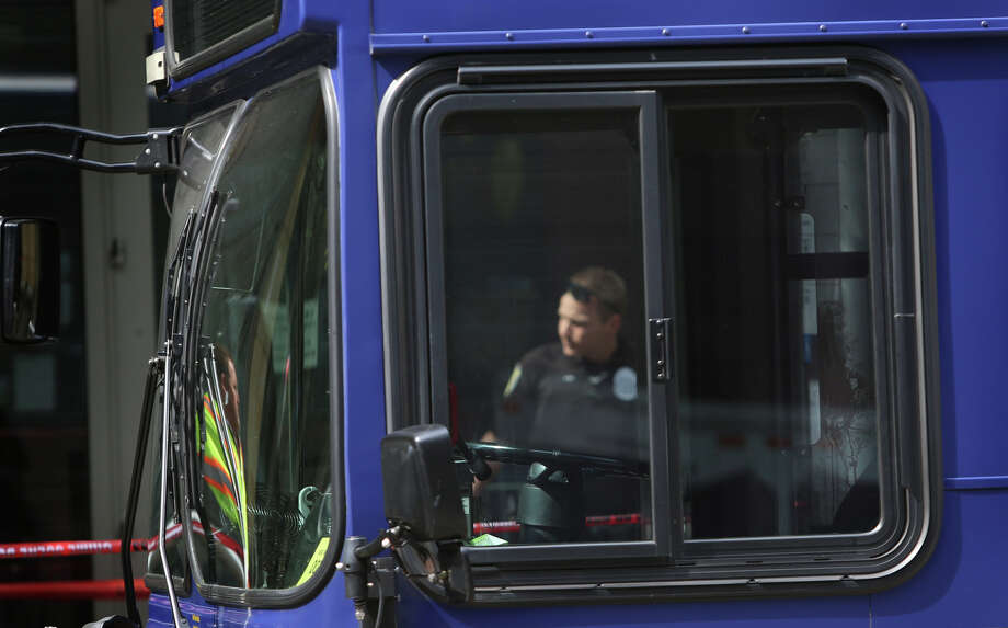 A bloodied panel is shown in a bus where a man shot a King County Metro bus driver.  Photo: JOSHUA TRUJILLO, SEATTLEPI.COM / SEATTLEPI.COM