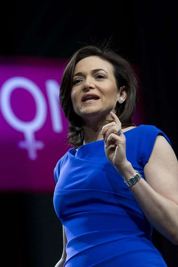Two prominent female executives, and one man, tied at 33 to 1: Sheryl Sandberg, chief operating officer of Facebook, Photo: Erin Lubin, Bloomberg