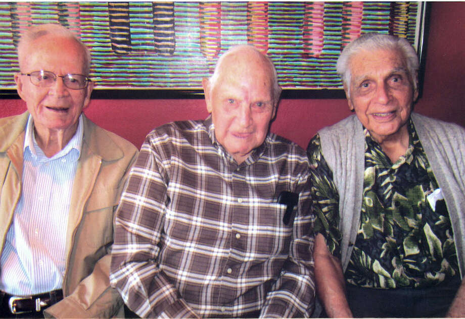 J. L. Summers (from left), Carl Clements and Alex Salinas are surviving members of the Lost Battalion of World War II. They were liberated from being POWs on Aug. 15, 1945. Photo: Courtesy