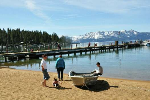 SouthEast Lake Tahoe.  One day we drove all around lake tahoe and we stopped here for lunch on the beach in the late Spring of 2013.  Our first time here and for some of us our first time in California.