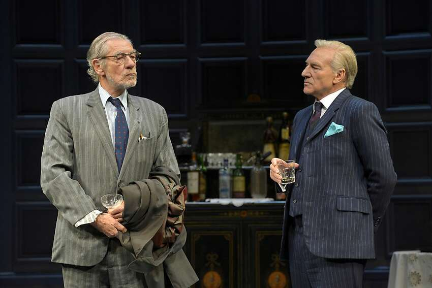 Ian McKellen (left) and Patrick Stewart warmed up Harold Pinter's