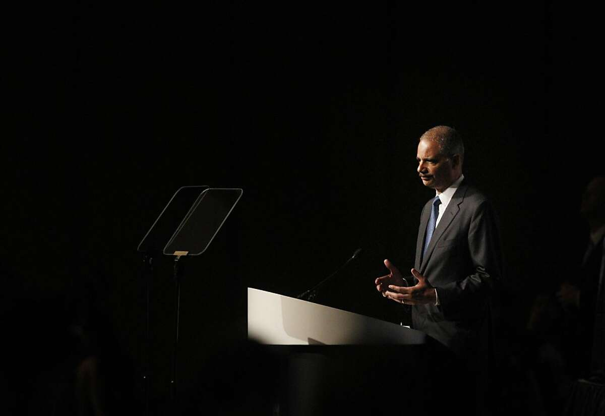 Attorney General Eric Holder addresses a meeting of the American Bar Association at Moscone West. Holder said