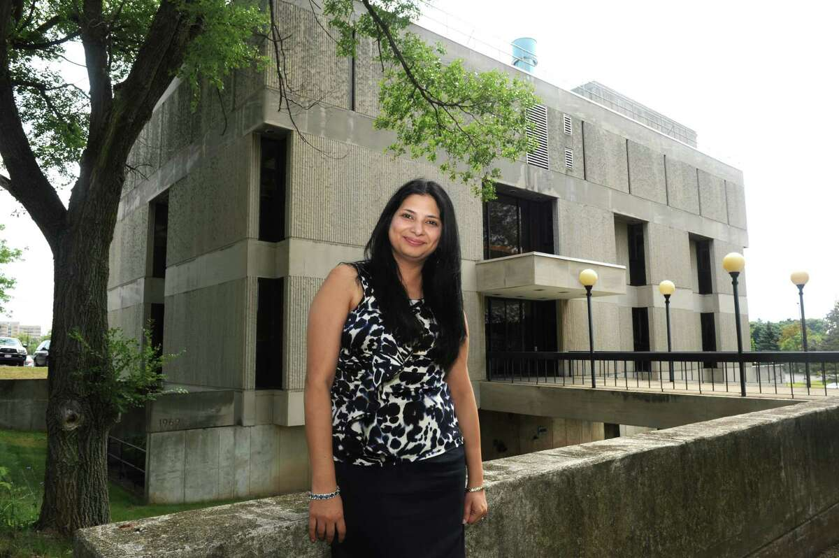 Dr. Meenakshi Malik is pictured outside the Albany College of Pharmacy Bioscience Research Building Thursday morning, Aug. 8, 2013 in Albany, N.Y. Dr. Malik received a grant to study bioterrorism agents. (Michael P. Farrell/Times Union)