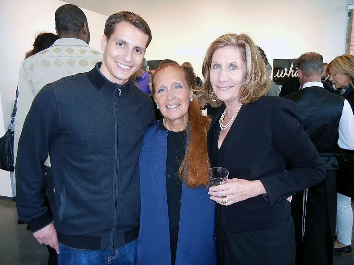 Maxx Traina (at left) with his mom, author Danielle Steel, and gallerist Andrea Schwartz at the opening of Steel's