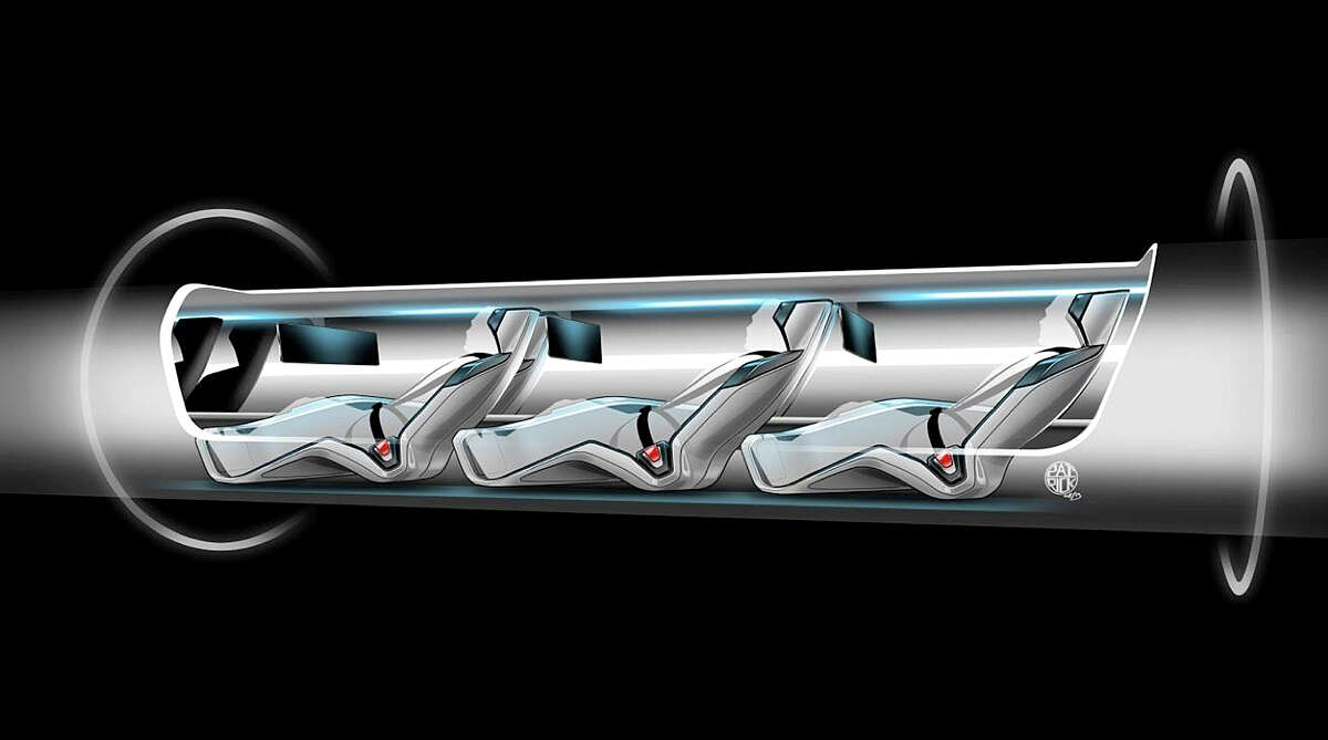 An image released by Tesla Motors, is a sketch of the Hyperloop capsule with passengers onboard. Billionaire entrepreneur Elon Musk on Monday, Aug. 12, 2013 unveiled a concept for a transport system he says would make the nearly 400-mile trip in half the time it takes an airplane. The
