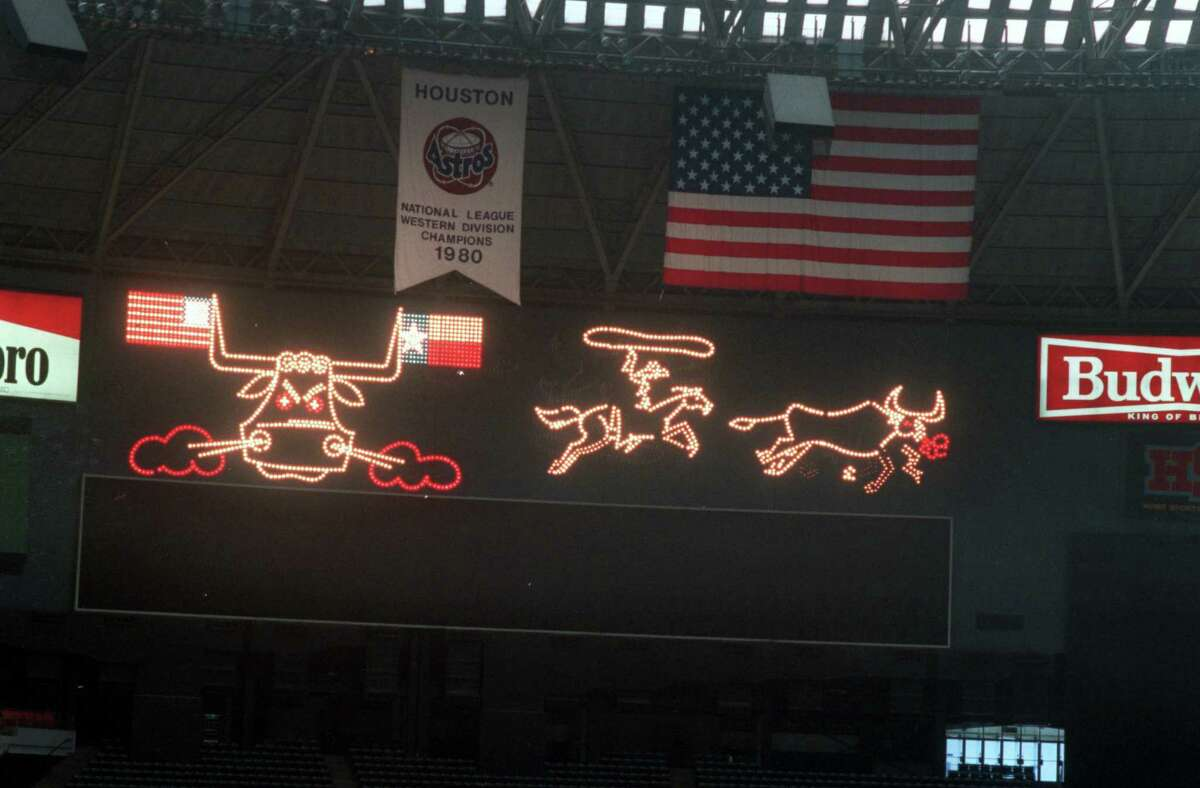 The original scoreboard featured a Wild West show after every Astros home run or victory.