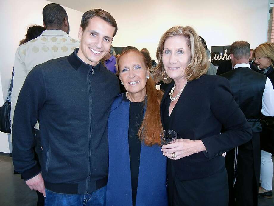 "Maxx Traina (left) with his mom, author Danielle Steel, and gallerist Andrea Schwartz at the opening of Steel's ""Word Perfect"" art exhibition. Steel is also expecting to release an album over the Internet. Photo: Catherine Bigelow"