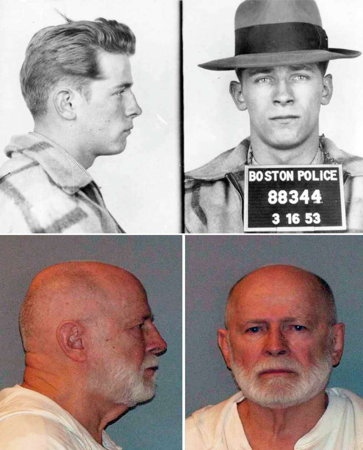 FILE -- Bulger, the mobster who terrorized South Boston in the 1970s and '80s while he led the notorious Winter Hill Gang, was found guilty on Monday. Aug. 12, 2013, of a sweeping array of gangland crimes, including 11 murders. Bulger, now 83, faces life in prison. (Boston Police, left, U.S. Marshal Service, bottom via The New York Times) ORG XMIT: NYT1