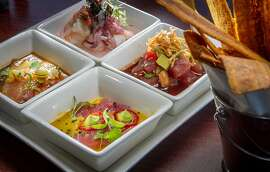 The Ceviche Sampler with Plantain Chips at Puerto 27 in Pacifica, Calif., is seen on Saturday, July 13th, 2013.