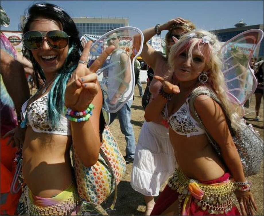 Seattle's Hempfest through the yearsGirls dressed as fairies blow kisses at Hempfest in 2008.