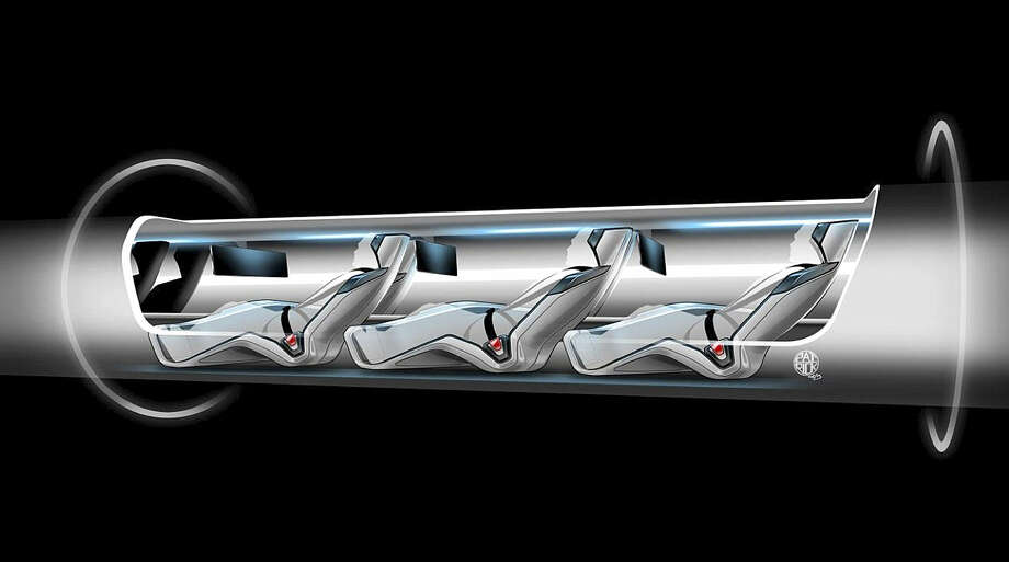 """A sketch shows how a """"Hyperloop"""" capsule might look with passengers onboard. Billionaire entrepreneur Elon Musk unveild his concept for the transport system on Monday. Photo: Tesla Motors / Associated Press"""