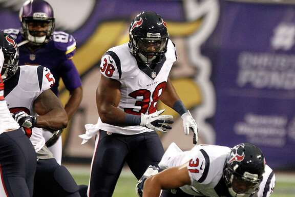 Texans safety Shiloh Keo (31) returns an interception early in the first preseason game against the Minnesota Vikings on Friday night.