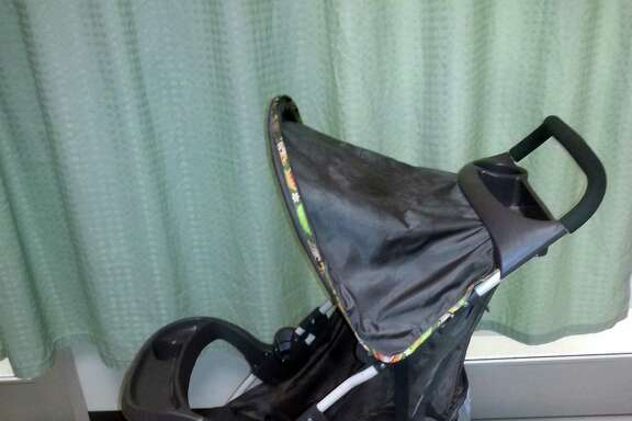 This is the outfit the abandoned baby was wearing when he was found in this stroller Monday morning.