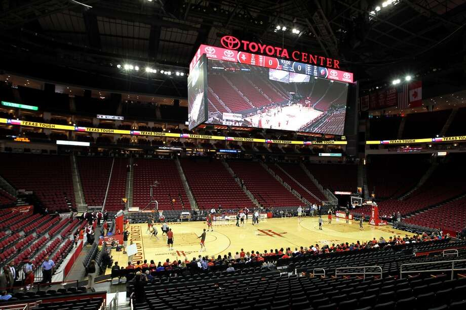 Toyota CenterThe arena's center-hung video boards (measuring 56 feet by 25 feet) are the the largest in the NBA. Photo: Karen Warren, Houston Chronicle