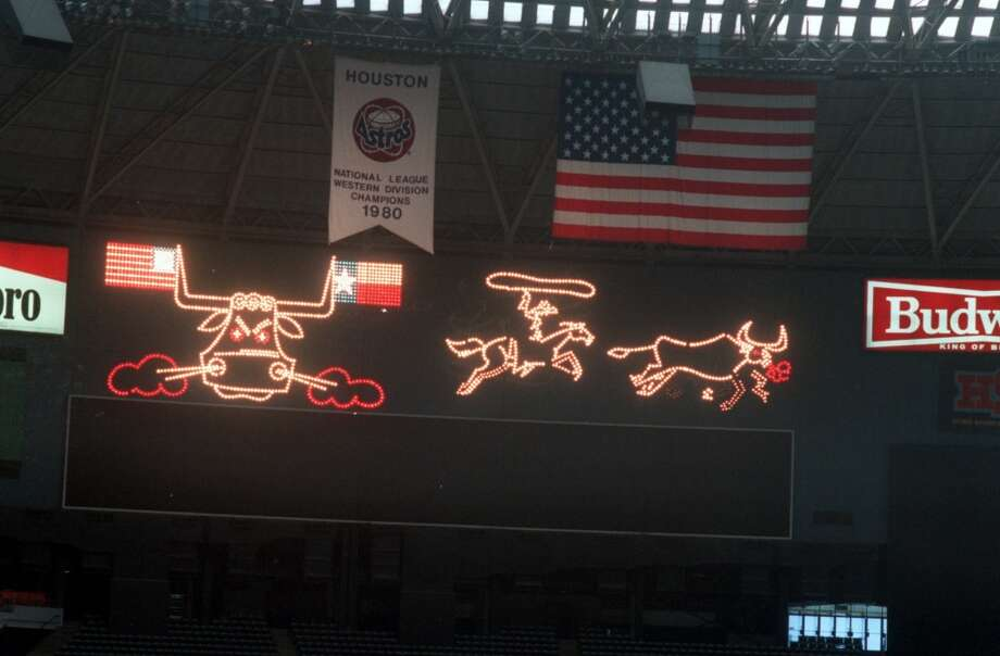 AstrodomeThe original scoreboard, which was removed in the late 1980s, was a whopping 474 feet long and known for its iconic images. Photo: Houston Chronicle File Photo