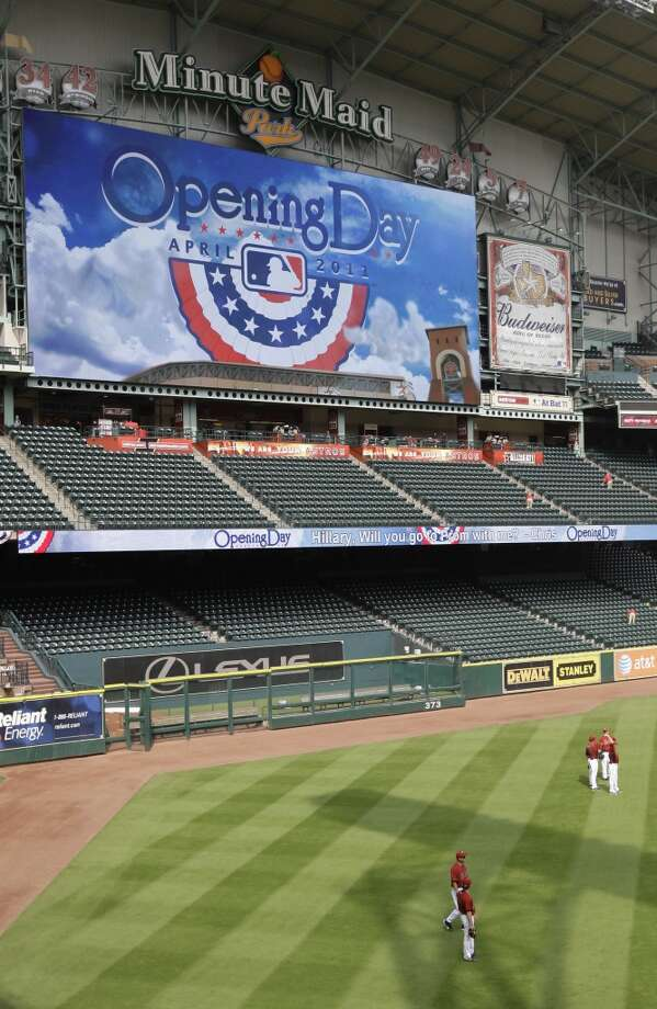 Minute Maid Park  The ballpark's board is the fourth-largest board in MLB at 124 feet by 53 feet. Photo: Karen Warren, Houston Chronicle
