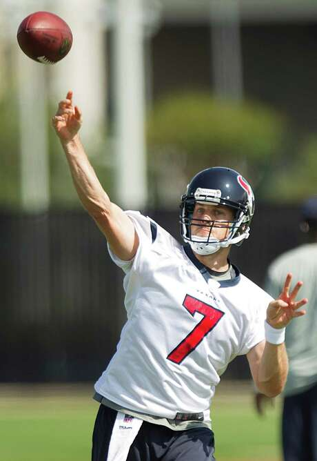 Texans quarterbacks T.J. Yates (13) and Case Keenum (7) played well in the preseason-opening victory. Photo: Brett Coomer, Staff / © 2013 Houston Chronicle