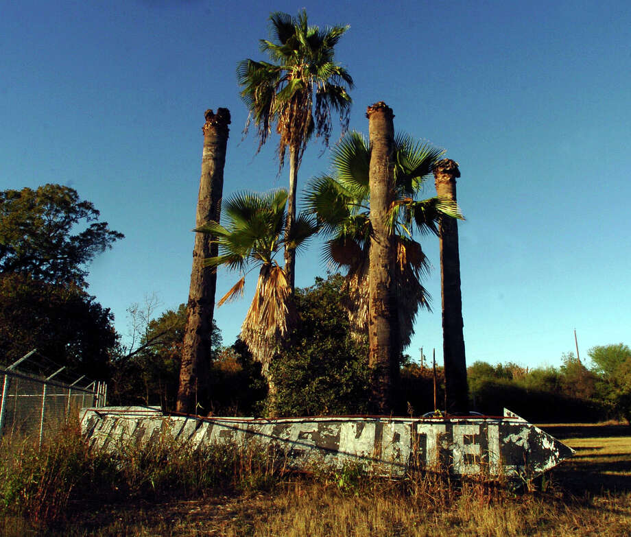 An old neon sign at the entrance to the old Hot Wells Motel lies by a palm tree grove off of South Presa, Nov. 18, 2005. Photo: BILLY CALZADA, San Antonio Express-News / SAN ANTONIO EXPRESS-NEWS