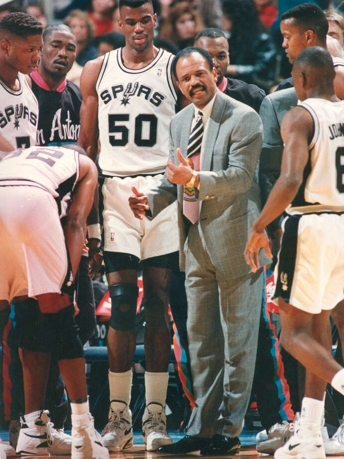 1992-1994, John Lucas II: 94 wins-49 losses; Lucas snagged his first head coaching job with the Spurs and holds the distinction of being the only Spurs head coach to be a former Spurs player. (He was a point guard during the 1983-84 season.) Lucas left at end of 1993-94 season to become the head coach for the Philadelphia 76ers.  (San Antonio Express-News file photo) Photo: San Antonio Express-News File Photo