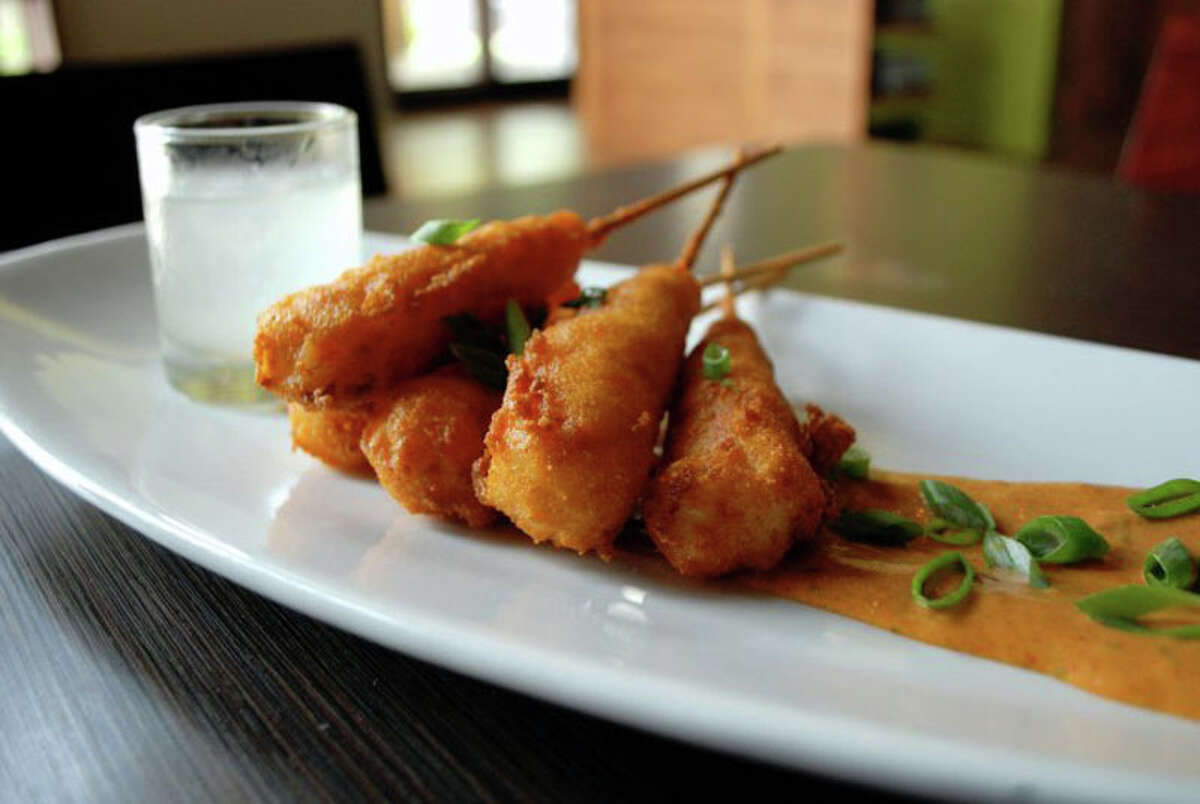Shrimp corn dogs are a classic appetizer at Haven.