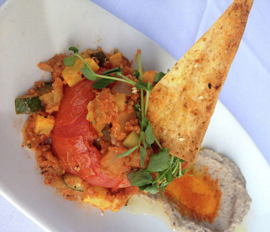 Whole Roasted Tomato with ratatouille, quinoa and purple hull peas is on of the entrees available on Haven's HRW menus.  Haven is located at 2502 Algerian Way. For a complete list of Houston Restaurant Week restaurants, as well as menus and maps, go to houstonrestaurantweeks.com.