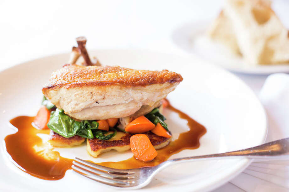 At Federal Grill, roasted organic chicken with seared gnocchi, market vegetables and thyme jus is one of the entrees offered on a $35  three-course dinner menu. The restaurant is located 510 Shepherd. For a complete list of Houston Restaurant Week restaurants, as well as menus and maps, go to houstonrestaurantweeks.com. Photo: Jill Hunter, 2013 Jill Hunter / 2013 Jill Hunter