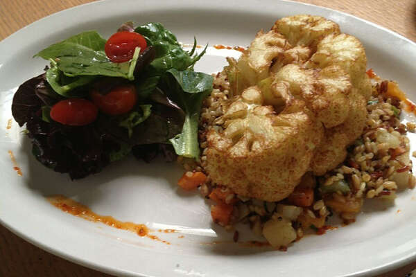 Saffron Brushed Cauliflower Steak is part of a $35 four-course vegetarian HRW menu offered at Backstreet Cafe. The restaurant is located 1103 S. Shepherd. For a complete list of Houston Restaurant Week restaurants, as well as menus and maps, go to houstonrestaurantweeks.com.