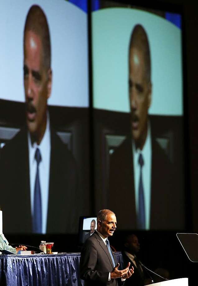 Attorney General Eric Holder's speech in S.F. Photo: Justin Sullivan, Getty Images