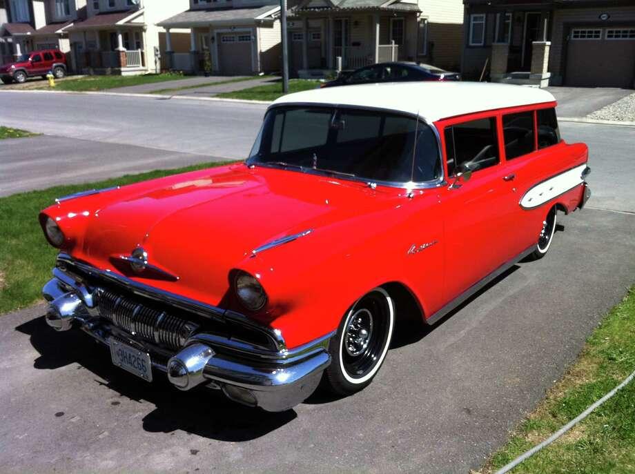 "This 1957 Pontiac Pathfinder is a rare Canadian ""Cheviac,"" a cross between a Chevy and a Pontiac."