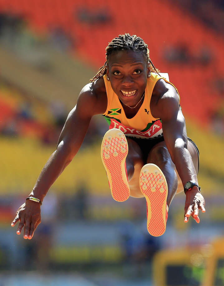 Kimberly Williams of Jamaica competes in the Women's Triple Jump qualification during Day Four of the 14th IAAF World Athletics Championships Moscow 2013 at Luzhniki Stadium on August 13, 2013 in Moscow. Photo: Jamie Squire, Getty Images / 2013 Getty Images