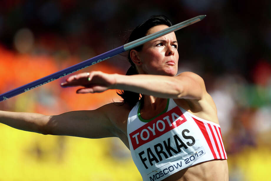 Gyorgyi Farkas-Zsivoczky of Hungary competes in the Women's Heptathlon Javelin during Day Four of the 14th IAAF World Athletics Championships Moscow 2013 at Luzhniki Stadium on August 13, 2013 in Moscow. Photo: Paul Gilham, Getty Images / 2013 Getty Images