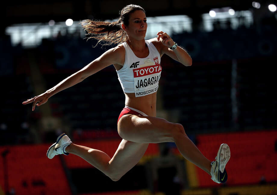 Anna Jagaciak of Poland competes in the in the Women's Triple Jump qualification during Day Four of the 14th IAAF World Athletics Championships Moscow 2013 at Luzhniki Stadium on August 13, 2013 in Moscow. Photo: Christian Petersen, Getty Images / 2013 Getty Images