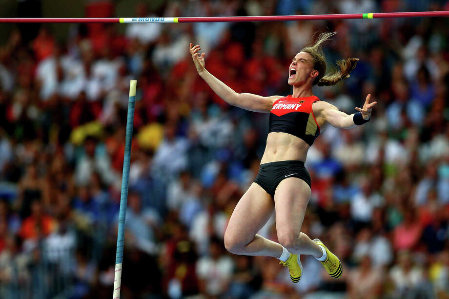 Silke Spiegelburg of Germany celebrates a jupm in the Women's pole vault final during Day Four of the 14th IAAF World Athletics Championships Moscow 2013 at Luzhniki Stadium on August 13, 2013 in Moscow. Photo: Cameron Spencer, Getty Images / 2013 Getty Images