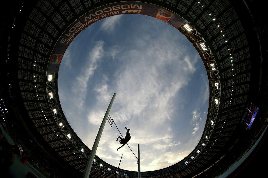 An athlete competes in the Women's pole vault final during Day Four of the 14th IAAF World Athletics Championships Moscow 2013 at Luzhniki Stadium on August 13, 2013 in Moscow. Photo: Ian Walton, Getty Images / 2013 Getty Images