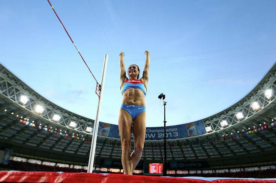 Elena Isinbaeva of Russia celebrates a successful jump in the Women's pole vault final during Day Four of the 14th IAAF World Athletics Championships Moscow 2013 at Luzhniki Stadium on August 13, 2013 in Moscow. Photo: Paul Gilham, Getty Images / 2013 Getty Images