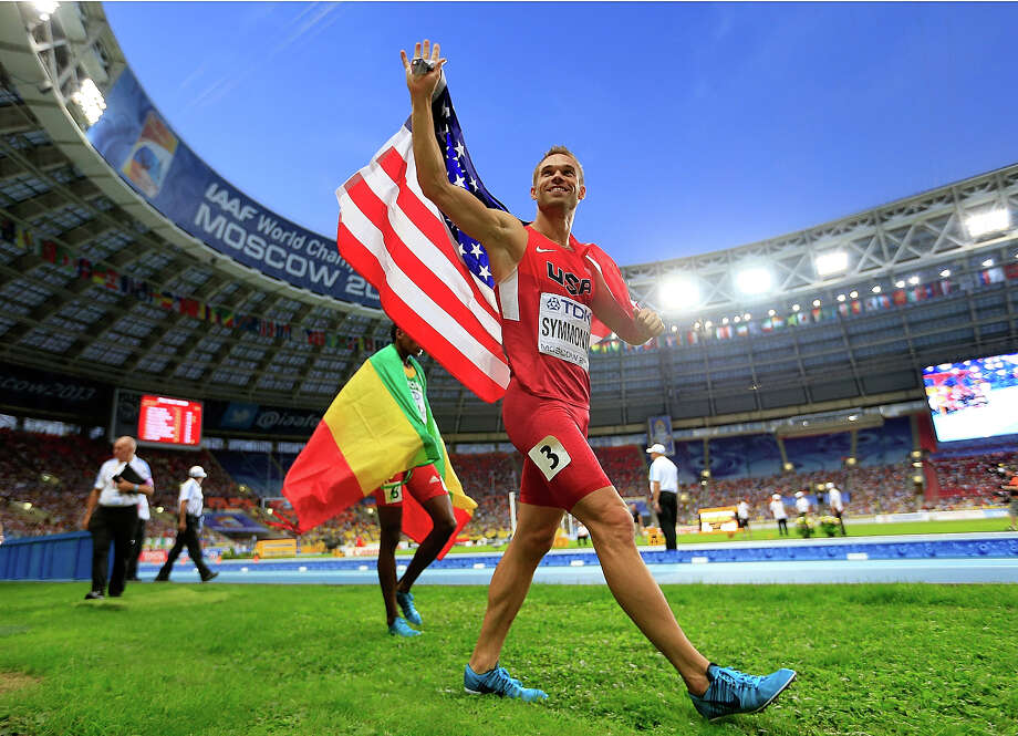 Nick Symmonds of the United States celebrates winning silver in the Men's 800 metres final during Day Four of the 14th IAAF World Athletics Championships Moscow 2013 at Luzhniki Stadium on August 13, 2013 in Moscow. Photo: Jamie Squire, Getty Images / 2013 Getty Images