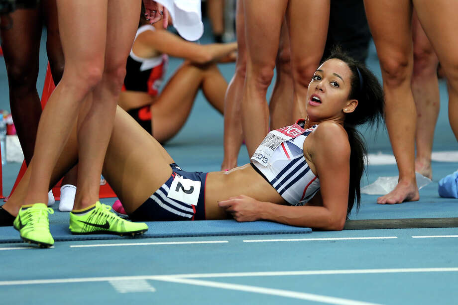 Katarina Johnson-Thompson of Great Britain looks on after competing in the Women's heptathlon 800 metres during Day Four of the 14th IAAF World Athletics Championships Moscow 2013 at Luzhniki Stadium on August 13, 2013 in Moscow. Photo: Ian Walton, Getty Images / 2013 Getty Images