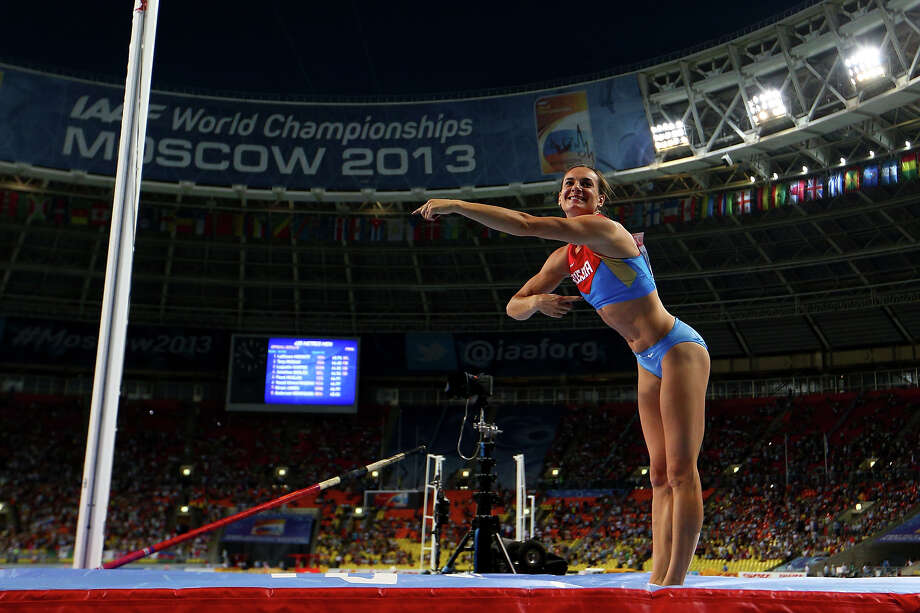 Elena Isinbaeva of Russia fails at an attempt after winning gold in the Women's pole vault final during Day Four of the 14th IAAF World Athletics Championships Moscow 2013 at Luzhniki Stadium on August 13, 2013 in Moscow. Photo: Paul Gilham, Getty Images / 2013 Getty Images