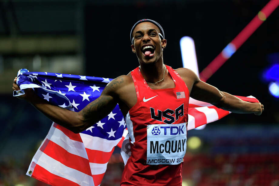 Silver medalist Tony McQuay of the United States celebrates after  the Men's 400 metres final during Day Four of the 14th IAAF World Athletics Championships Moscow 2013 at Luzhniki Stadium on August 13, 2013 in Moscow. Photo: Jamie Squire, Getty Images / 2013 Getty Images