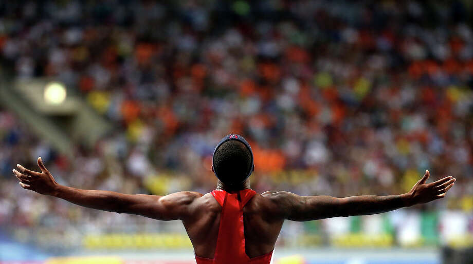 Silver medalist Tony McQuay of the United States celebrates after  the Men's 400 metres final during Day Four of the 14th IAAF World Athletics Championships Moscow 2013 at Luzhniki Stadium on August 13, 2013 in Moscow. Photo: Christian Petersen, Getty Images / 2013 Getty Images