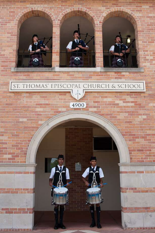 St. Thomas Episcopal School Pipe Band members who recently returned from Argentina include pipers Emily Smith, 14, top left, Matthew Hrncir, 16, and  Jess Lee Wakeland, 17, and drummers  Michael Joseph, 15, and Andrew Johnson, 15. Photo: R. Clayton McKee, Freelance / © R. Clayton McKee